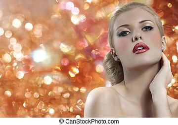 blonde , vrouw, met, redgolden, lippen