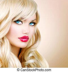 blonde, vrouw, portrait., mooi, blonde , meisje, met, lang, wavy haar