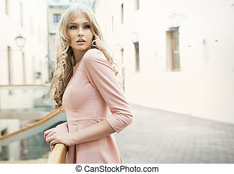blonde, vrouw, schattige, delicaat, huid