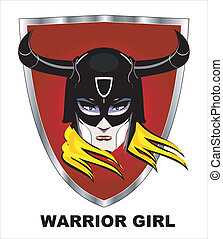 vector illustration of horned warrior woman head, elegant woman with the mask