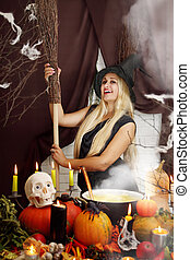 blonde witch with a broom
