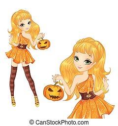 Blonde Witch With Pumpkin