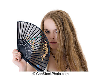 blonde with a fan