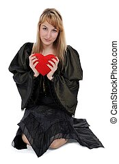 blonde with a heart in hands