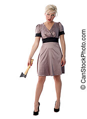 blonde with axe isolated in white
