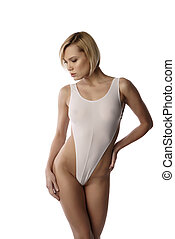 Blonde with bob haircut posing in sexy bodysuit