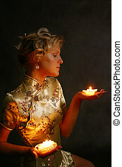 Blonde with candles