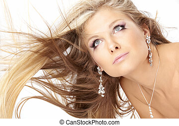 Blonde with flying hair - Developing hair of the beautiful ...