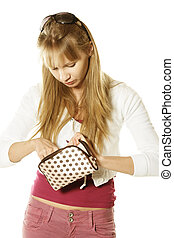 Blonde with handbag