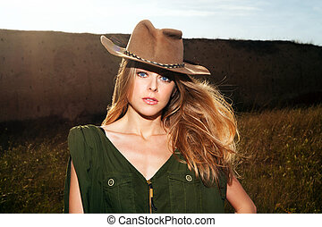 blonde with hat