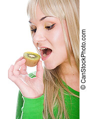 blonde with kiwi - attractive blonde woman with kiwi on...