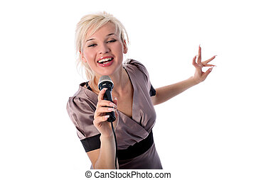 blonde with microphone