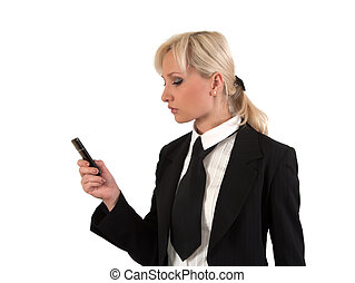 Blonde with mobile.