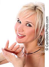 blonde with moisturizer