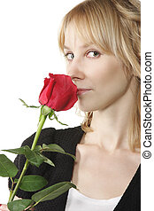 Blonde with rose