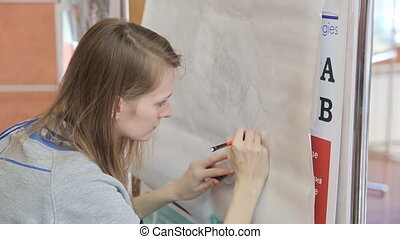Blonde woman accurately paints building project on board....
