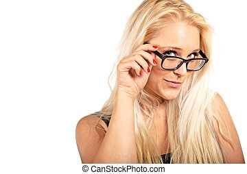 Blonde Woman Adjusting Her Eyeglasses