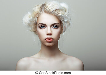 Blonde woman.