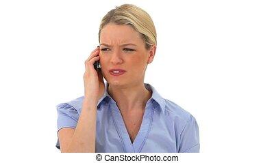 Blonde woman calling