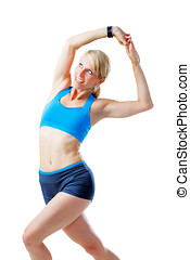 Blonde woman doing fitness exercises