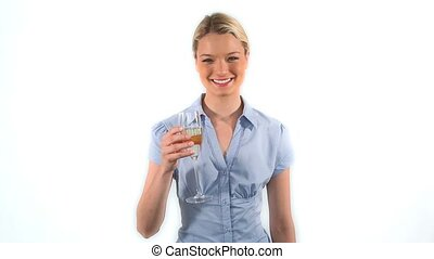 Blonde woman drinking champagne