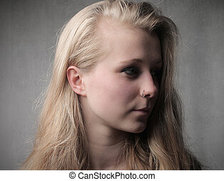 Blonde woman from profile