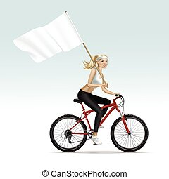 Blonde Woman Girl Riding a Bicycle with Flag