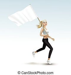 Blonde Woman Girl Running Jogging with a Flag