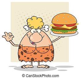 Blonde Woman Holding A Burger