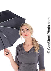 Blonde Woman Holding Umbrella Looking Up