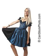 blonde woman in a bavarian dirndl