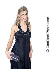 blonde woman in evening dress