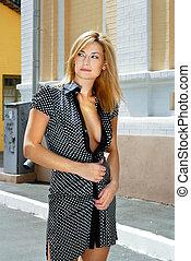 blonde woman in hot spot - beautiful blonde woman takes walk...