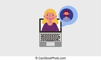 blonde woman in laptop people speech bubble animation