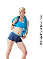 Blonde woman in sports wear holding a water bottle and a towel