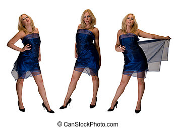 A montage of 3 poses of a blonde woman