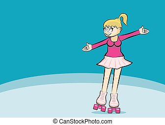 Blonde Woman on roller skates - copyspace