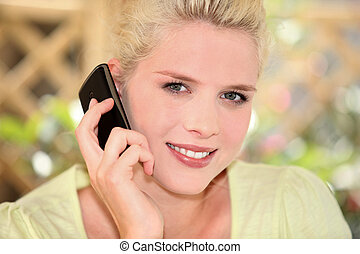 Blonde woman on the phone