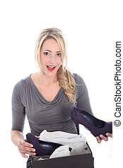 Blonde Woman Opening Box of Shoes - Beautiful young blonde...