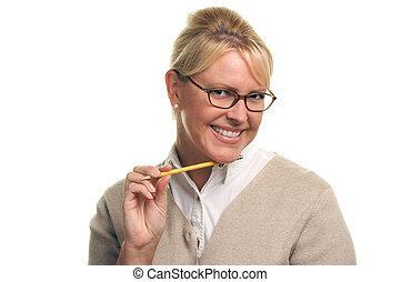 Blonde Woman & Pencil