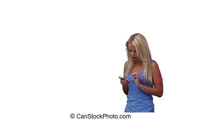 Blonde woman reading a text message