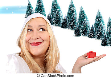 Blonde woman shows present