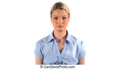 Blonde woman shrugging