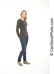 blonde woman standing on a white background