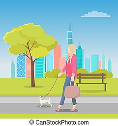 Blonde Woman Walking with Dog in City Park Vector