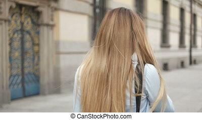 Blonde Woman Walking