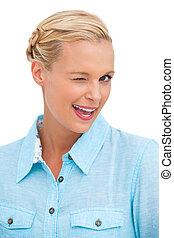 Blonde woman winking - Happy blonde woman winking on white ...