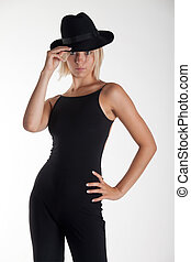 blonde woman with a black hat