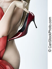 blonde woman with a red s