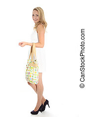 Blonde Woman with Bag and White Dress